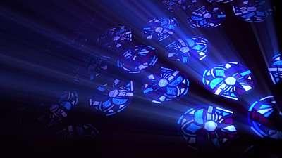 Modern Glass Blue Flowers Still