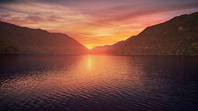 Mountain Pines Lake Sunset