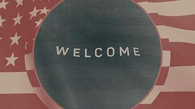 Vintage Waving American Flag Welcome